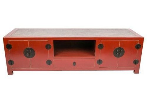 Fine Asianliving Chinese TV Stand Bench with Bamboo Top Red W190xD56xH56xm