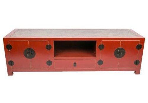 Fine Asianliving Mobile TV Cinese con Piano Tavolo in Bambù Rosso L190xP56xA56xm