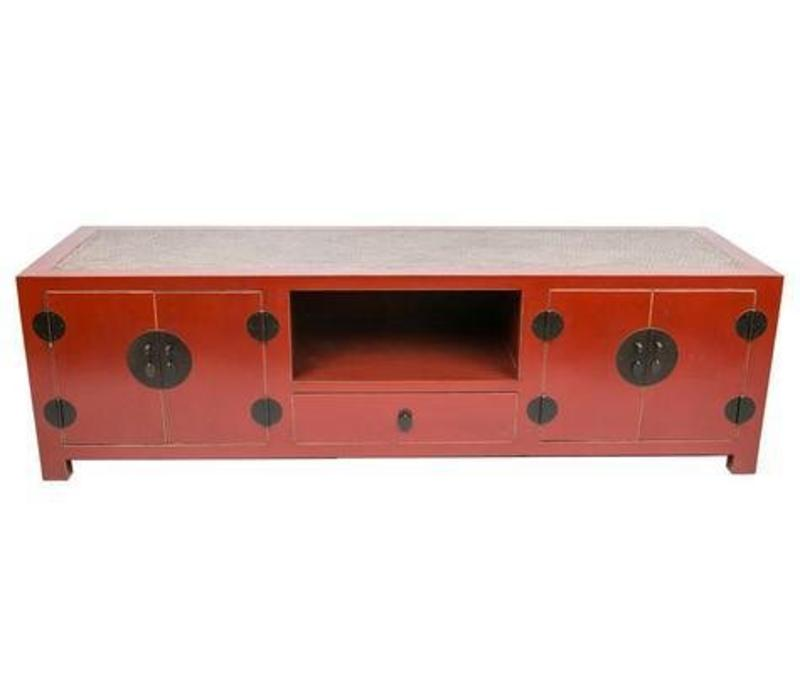 Chinese TV Stand Bench with Bamboo Top Red W190xD56xH56xm