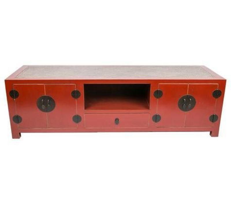 Mobile TV Cinese con Piano Tavolo in Bambù Rosso L190xP56xA56xm