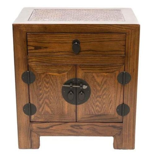 Fine Asianliving Chinese Small Cabinet Handmade Elm & Bamboo Natural Brown