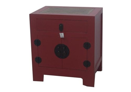 Fine Asianliving Chinese Nightstand White Braided Bamboo Red