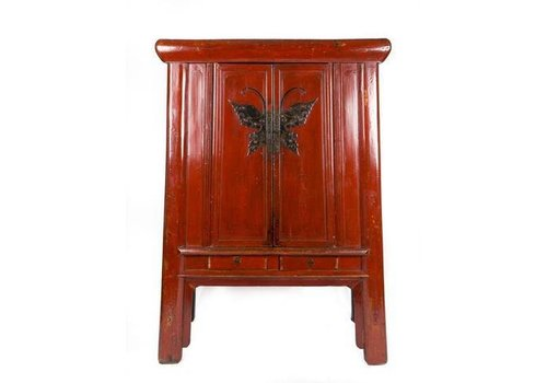 Fine Asianliving Antique Chinese Cupboard White Yuwood Butterfly