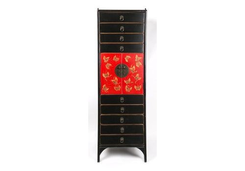 Fine Asianliving Chinese Cabinet Handpainted Butterflies - Black Red