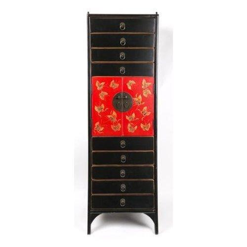 Chinese Cabinet Handpainted Butterflies - Black Red