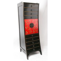 Chinese Ladenkast Vlinders Handgeschilderd - Zwart Rood