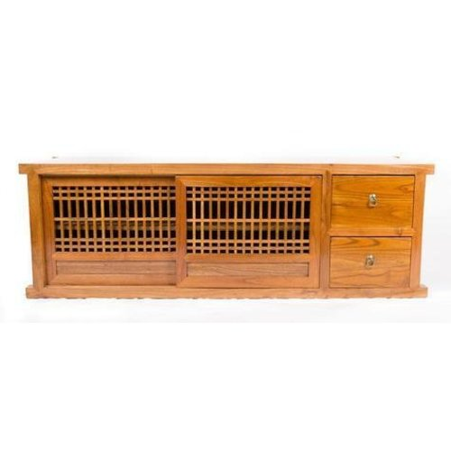 Chinese TV Cabinet with Sliding Doors Honey brown