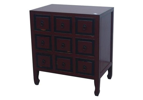 Fine Asianliving Chinese Cupboard Red 9 Drawers