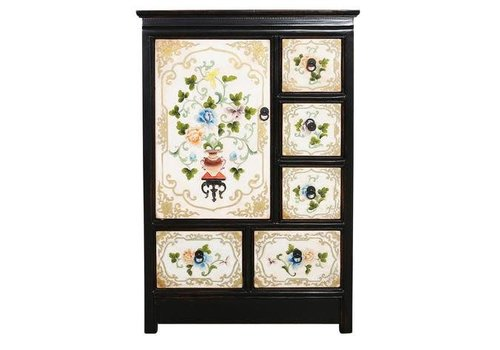 Fine Asianliving Tibetan Cabinet Black White Hand Engraved Flowers