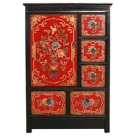Tibetan Cabinet Red Black Handcrafted Flowers