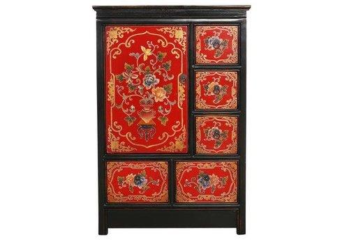 Fine Asianliving Tibetaanse Kast Rood Zwart Handgegraveerde Bloemen