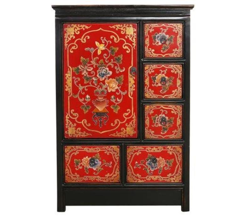 Tibetaanse Kast Rood Zwart Handgegraveerde Bloemen