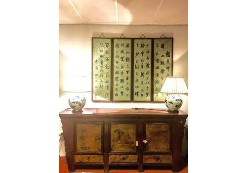 Fine Asianliving Antique Chinese Sideboard Tibetan Mountains Handpainted