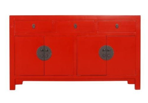 Fine Asianliving Fine Asianliving Chinese Sideboard Chest of Drawers Dresser Cabinet L140xW35xH80cm Lucky Red