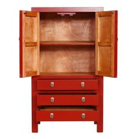 Fine Asianliving Chinese Cabinet Three Drawers Two Doors Red