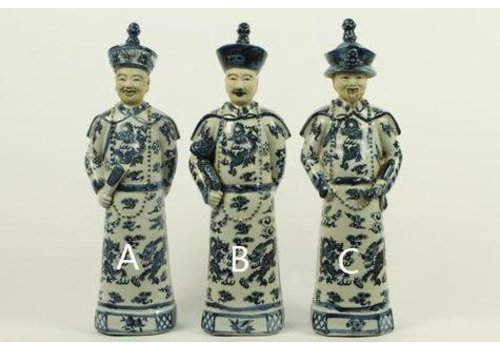 Fine Asianliving Chinese Emperor Porcelain Figurine Three Generations Qing Dynasty Statues Blue Father - Love B