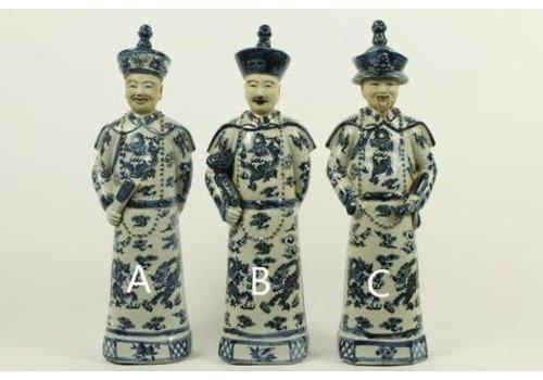 Fine Asianliving Chinese Keizer Porselein Beeld Handbeschilderd BW Vader - Liefde B