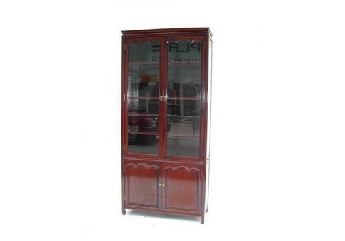 Fine Asianliving Chinese Bookcase Glass-door Cabinet Rosewood