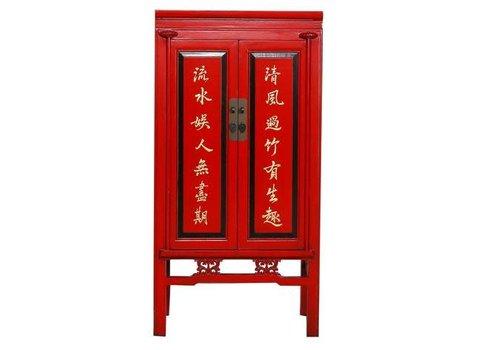 Fine Asianliving Chinese Kast Handbeschilderde Karakters Rood