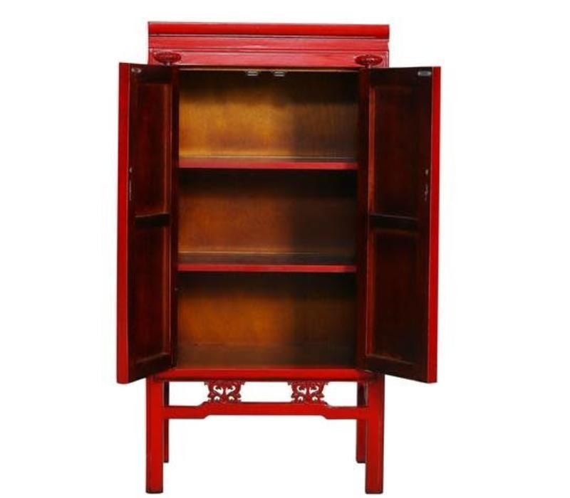 Chinese Kast Handbeschilderde Karakters Rood