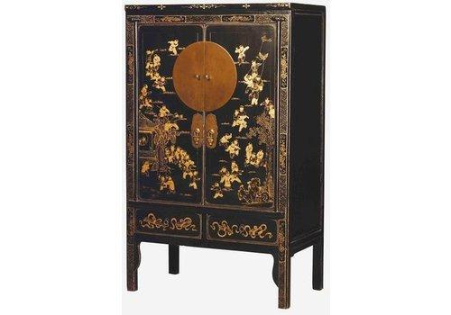 Fine Asianliving Antieke Chinese Bruidskast met Gouden Beschilderingen Zwart