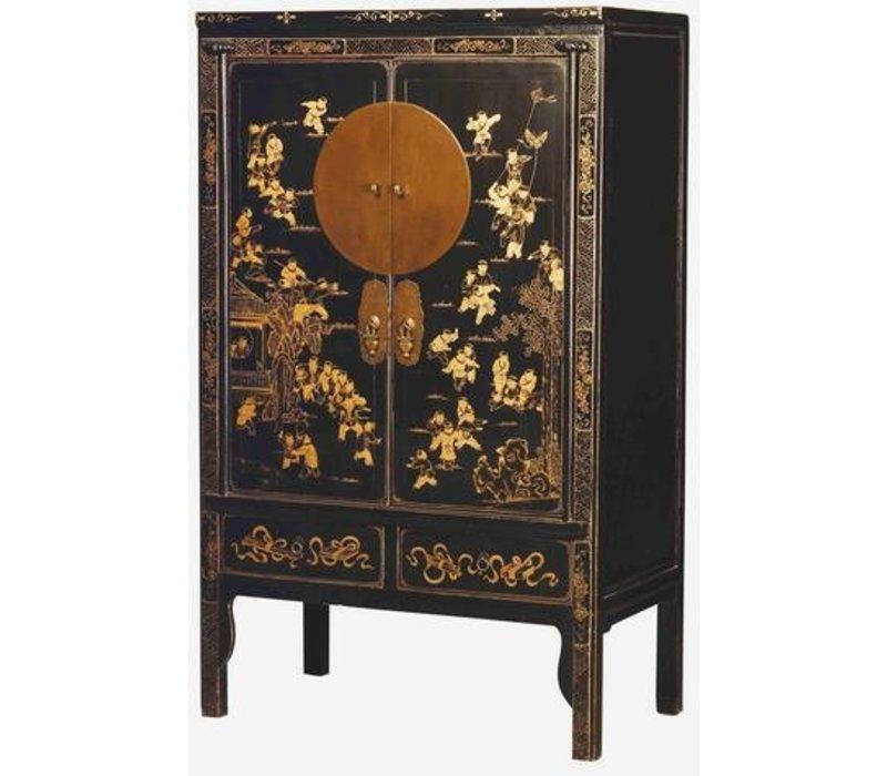 Antieke Chinese Bruidskast met Gouden Beschilderingen Zwart