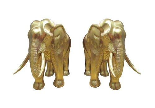 Fine Asianliving Set/2 Gold Leaf Elephant