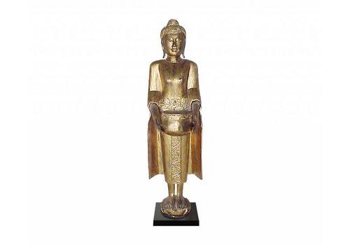 Fine Asianliving Gouden Thaise Boeddha Op Standaard