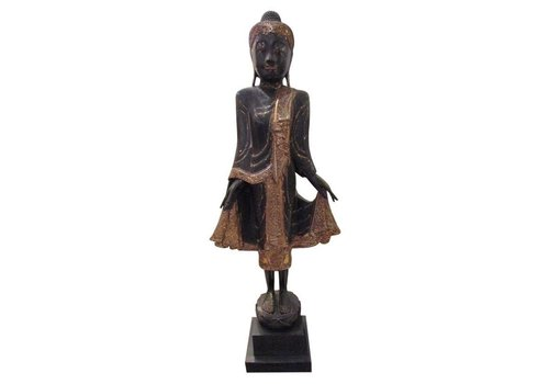 Fine Asianliving Thai Brown Buddha On Stand with Mirror-Like Details