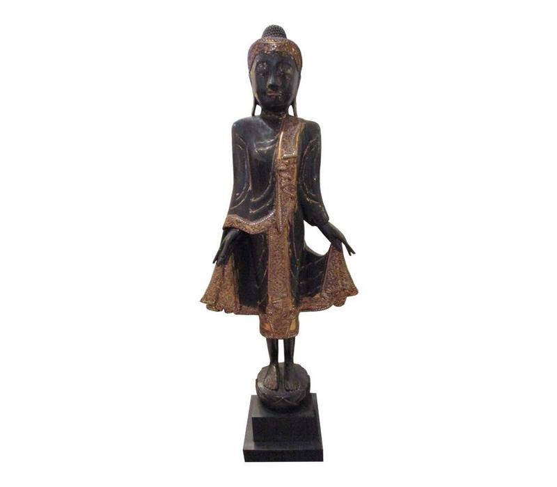 Brown Buddha On Stand with Mirror-Like Details