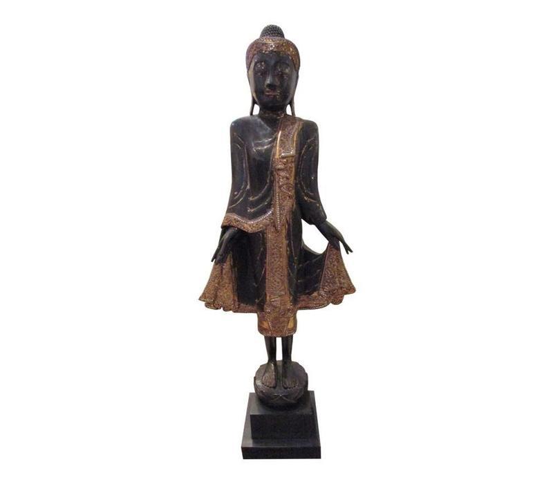 Bruine  Buddha Op  Standaard Spiegel Accenten