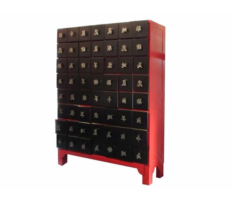 Thai Cabinet White Chinese Horoscope Characters Red Black