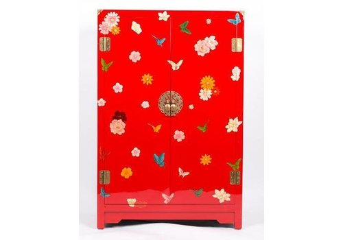 Fine Asianliving Chinese Cabinet with Handpainted Butterflies Red Middel