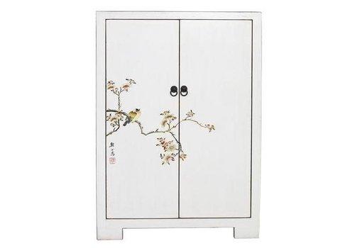 Fine Asianliving Fine Cabinet Chinois Asianliving avec Oiseaux et Fleurs de Cerisier Blanc