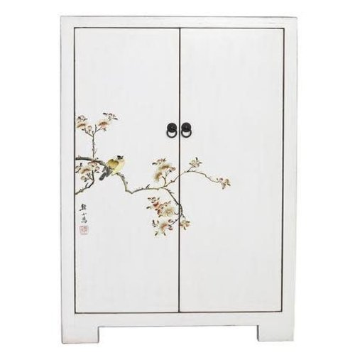 Fine Asianliving Chinese Cabinet  White Birds & Cherry Blossoms White