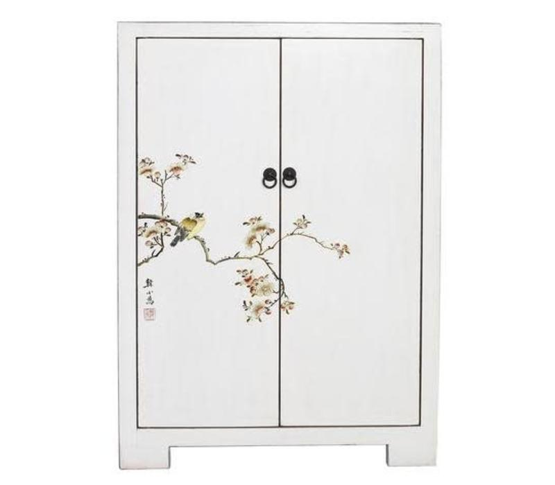 Fine Asianliving Chinese Cabinet  with Birds & Cherry Blossoms White