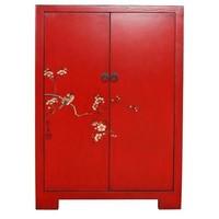 Armoire Chinoise Fine Asianliving Oiseaux Blancs & Fleurs De Cerisier Rouge