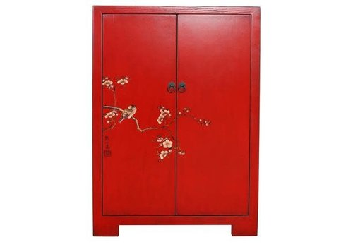 Fine Asianliving Fine Asianliving Chinese Cabinet  White Birds & Cherry Blossoms Red