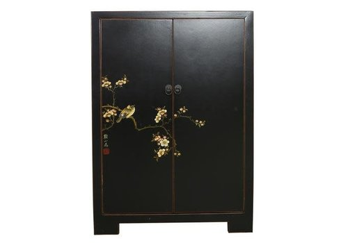 Fine Asianliving Fine Asianliving Chinese Cabinet  White Birds & Cherry Blossoms Black