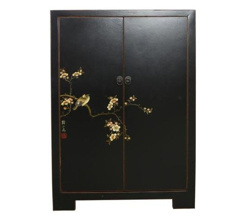 Fine Asianliving Chinese Cabinet  White Birds & Cherry Blossoms Black