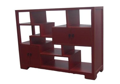 Fine Asianliving Chinese Open Cabinet Bookcase Red