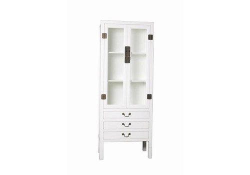 Fine Asianliving Fine Asianliving Chinese Bookcase Display Cabinet with Drie Drawers White