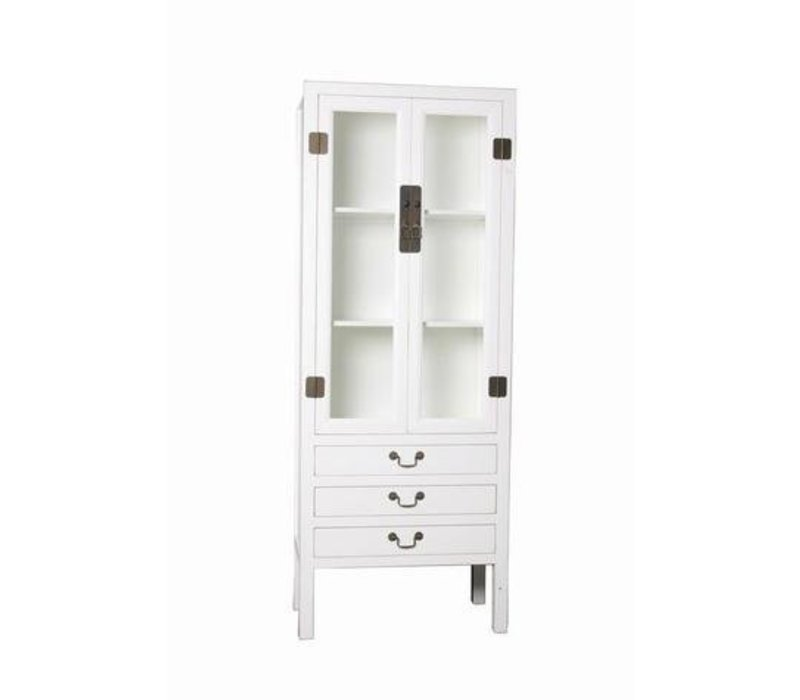 Fine Asianliving Chinese Bookcase Display Cabinet with Drie Drawers White