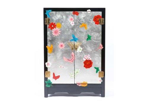 Fine Asianliving Chinese Kast Yangzhou Lak Handgeschilderde Vlinders Zwart Zilver Middel