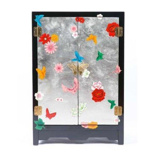 Chinese Kast Yangzhou Lak Handgeschilderde Vlinders Zwart Zilver Middel