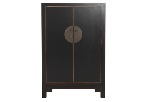 Fine Asianliving Antique Chinese Big Cabinet Hand Painted Black - Changsha