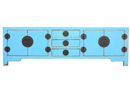 Fine Asianliving Designed Chinese Low Sideboard Hand Painted Blue - Wuhan
