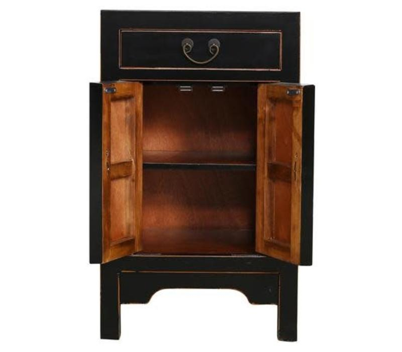 Fine Asianliving Chinese Bedside Table Cabinet Black 42x35x70cm