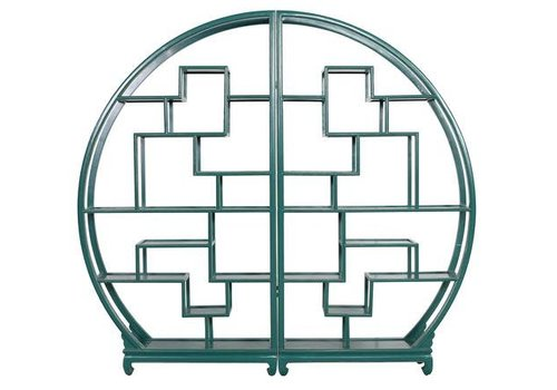 Fine Asianliving Chinese Bookcase Round Open Cabinet Teal L176xH192cm