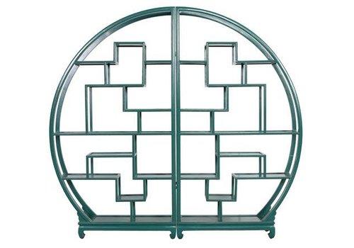 Fine Asianliving Chinesisches Bücherregal runder offener Schrank Teal B176xH192cm